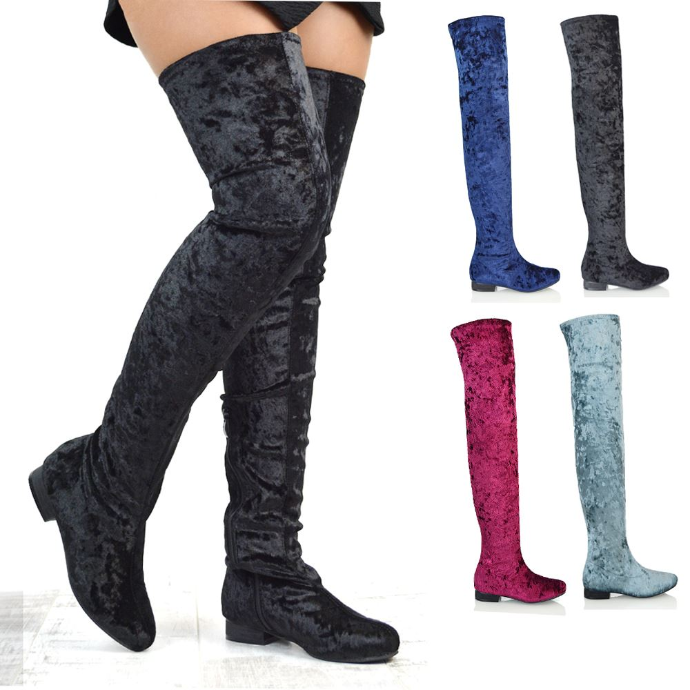 d920055791b15 Details about WOMENS FLAT THIGH HIGH VELVET LADIES TALL STRETCH OVER THE  KNEE HIGH BOOTS SIZE