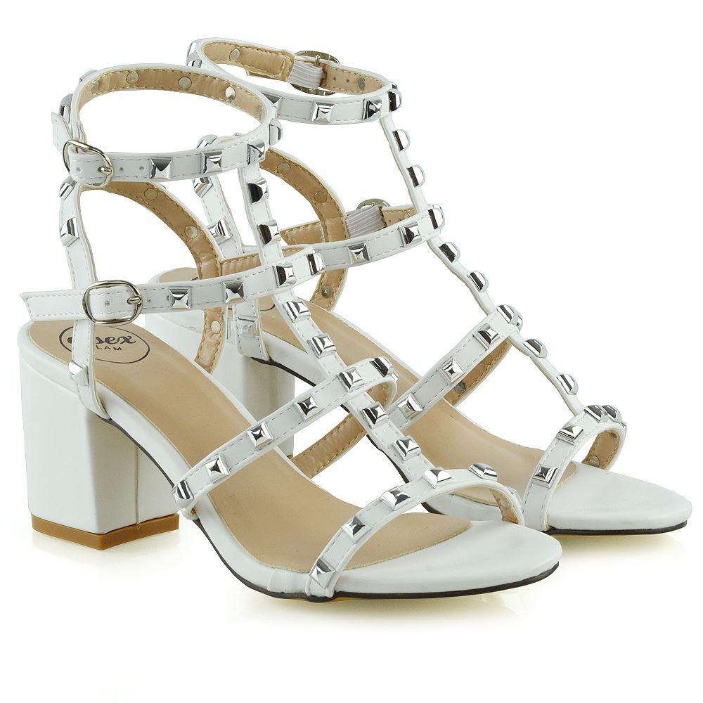Details about Womens Ladies Ankle Strap Studded Sandals Ladies Rivet Block Heel Shoes Size 3 8