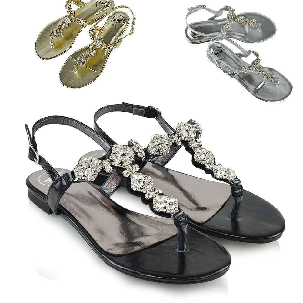 4b7be0121acffa Details about Ladies Flat Womens Diamante Jewel Holiday Dressy Party  Slingback T-Bar Sandals