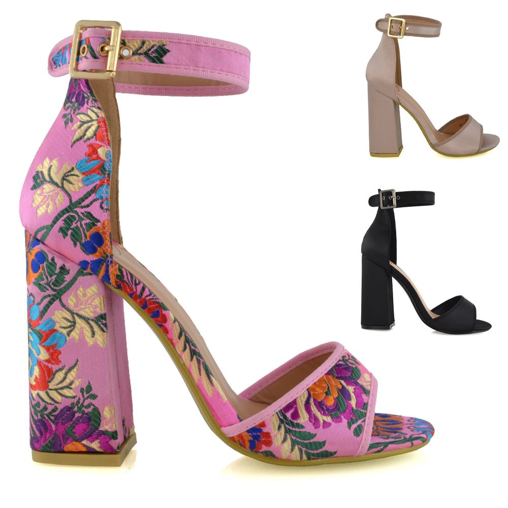 Details about Womens Satin High Heel Sandals Ankle Strap Peep Toe Floral Ladies Party Shoes