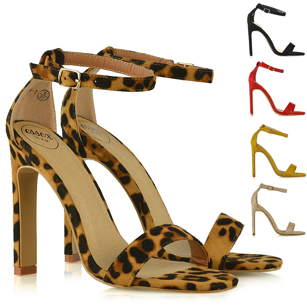 8d0d3d42c240 Womens High Heel Barely There Sandals Ladies Open Toe Strappy Party Shoes  Size
