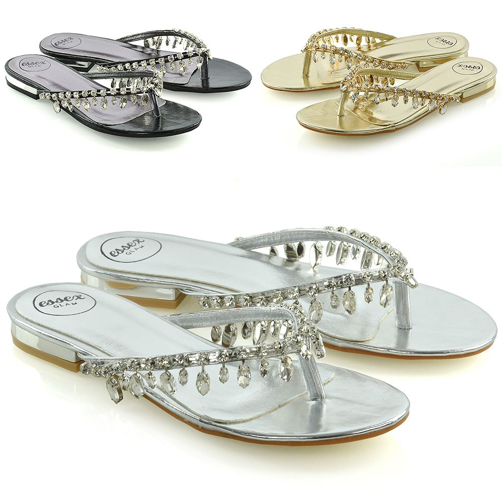 Beach Sliders Flip Flop Diamante Sandals About Post Womens Ladies Toe Holiday Sparkly Details N0vm8wOn