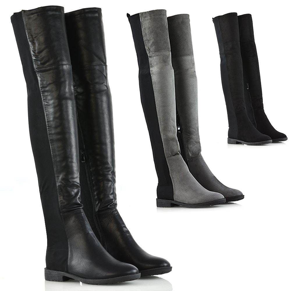 Flat Over The Knee Black Boots