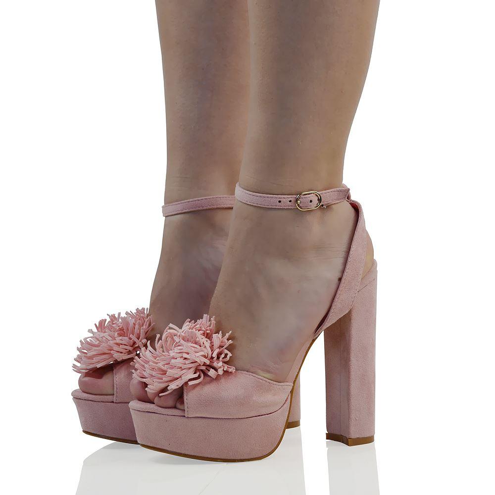 damen plateau schuhe mit hohem absatz sandalen block kn chelriemen ebay. Black Bedroom Furniture Sets. Home Design Ideas