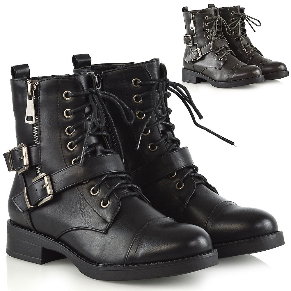 Womens Ankle Boots Combat Lace Up British Western Ladies Biker Leather Shoe