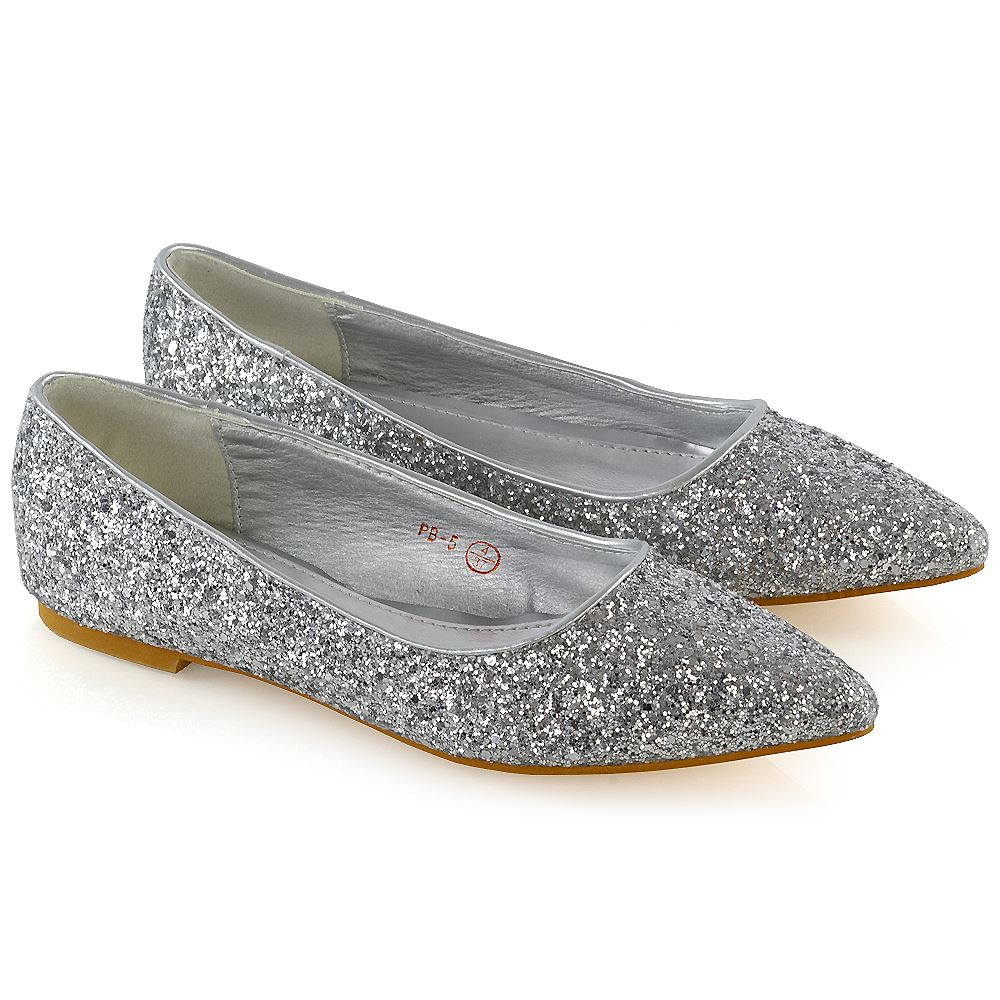 Women/'s Ladies Flats Pumps Ladies Glitter Ballet Glittery Dolly Party Shoes Size