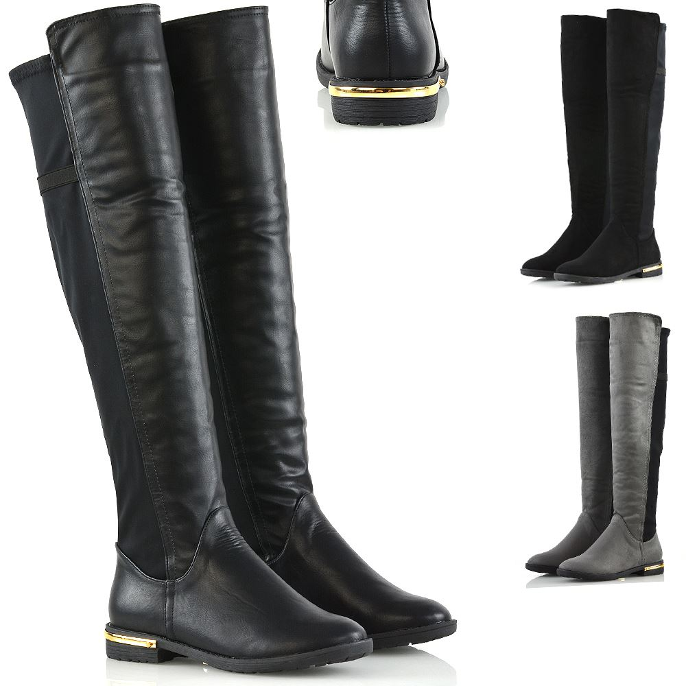 Womens Stretch Calf Leg Flat Low Heel