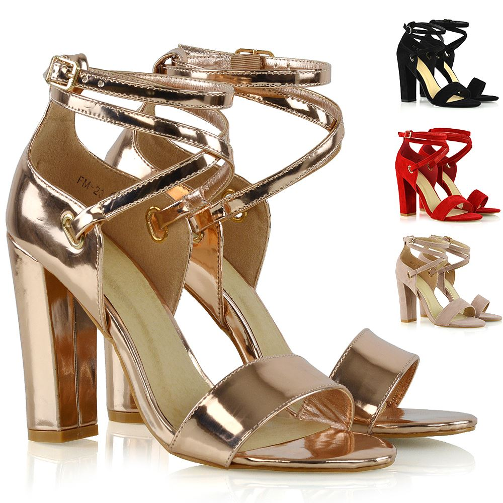 c721f53ee Details about Womens Strappy Sandals Block Mid High Heel Ladies Open Toe  Evening Party Shoes