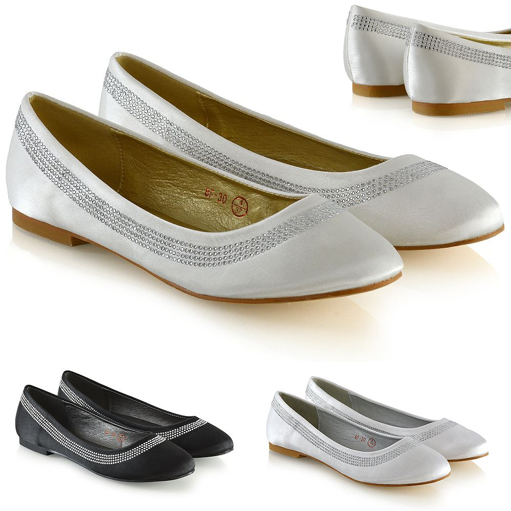 f8220fde03e9b4 Womens Bridal Diamante pumpt Damen Slip-On flach Satin Brautjungfer Party  Schuhe