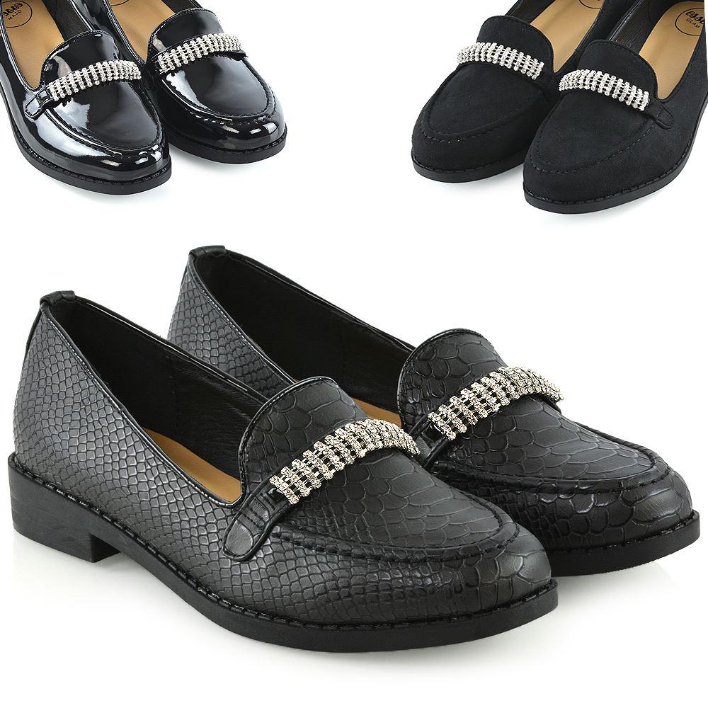 Womens Black Loafers Shoes Ladies Slip