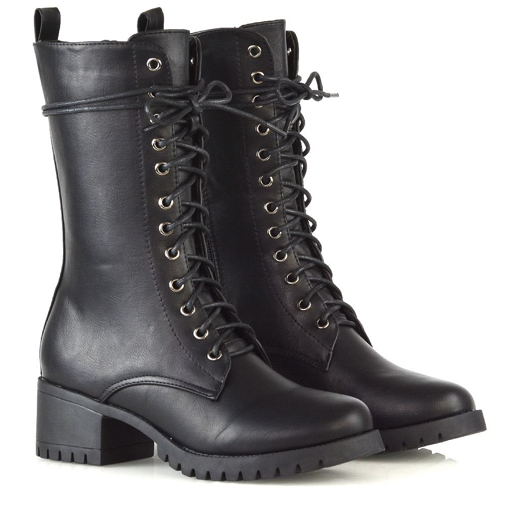 138ae32b8a6d Details about Womens Lace Up Boots Grip Sole Ladies Block Low Heel Goth Punk  Combat Shoes Size