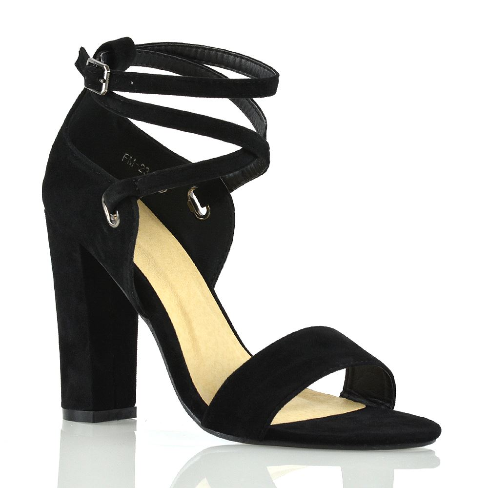 Details about Womens Strappy Sandals Block Mid High Heel Ladies Open Toe Evening Party Shoes