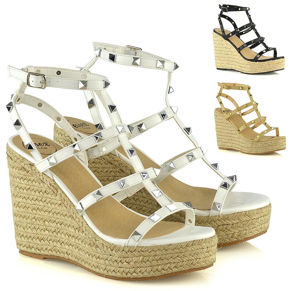 Womens Wedge Heel Shoes Ladies Studded