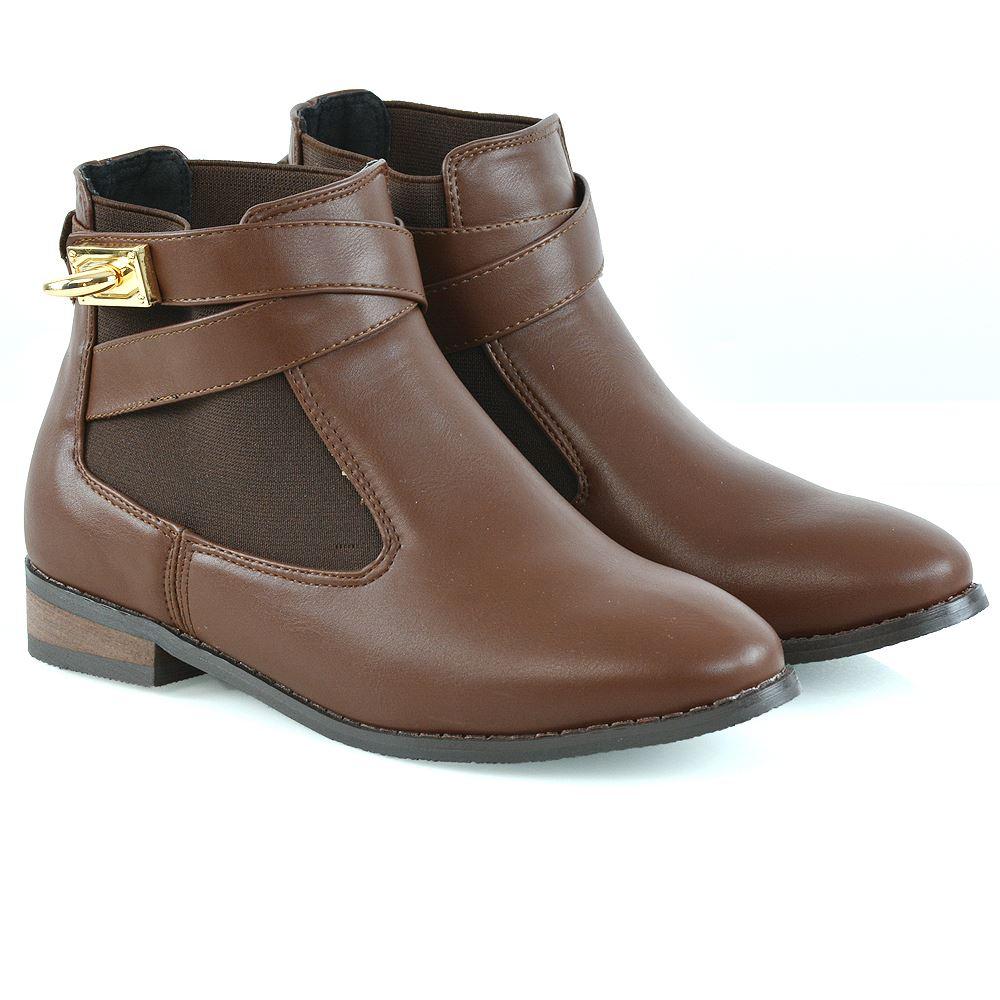 8eba0537ac2e5 Womens Chelsea Pull On Low Block Heel Ladies Elastic Buckle Pixie Ankle  Boots 3-8