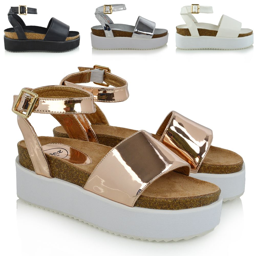 d3019ab2844 WOMENS PLATFORM STRAPPY SANDALS CHUNKY WEDGE FLATFORM PEEP TOE CASUAL SHOES  3-8