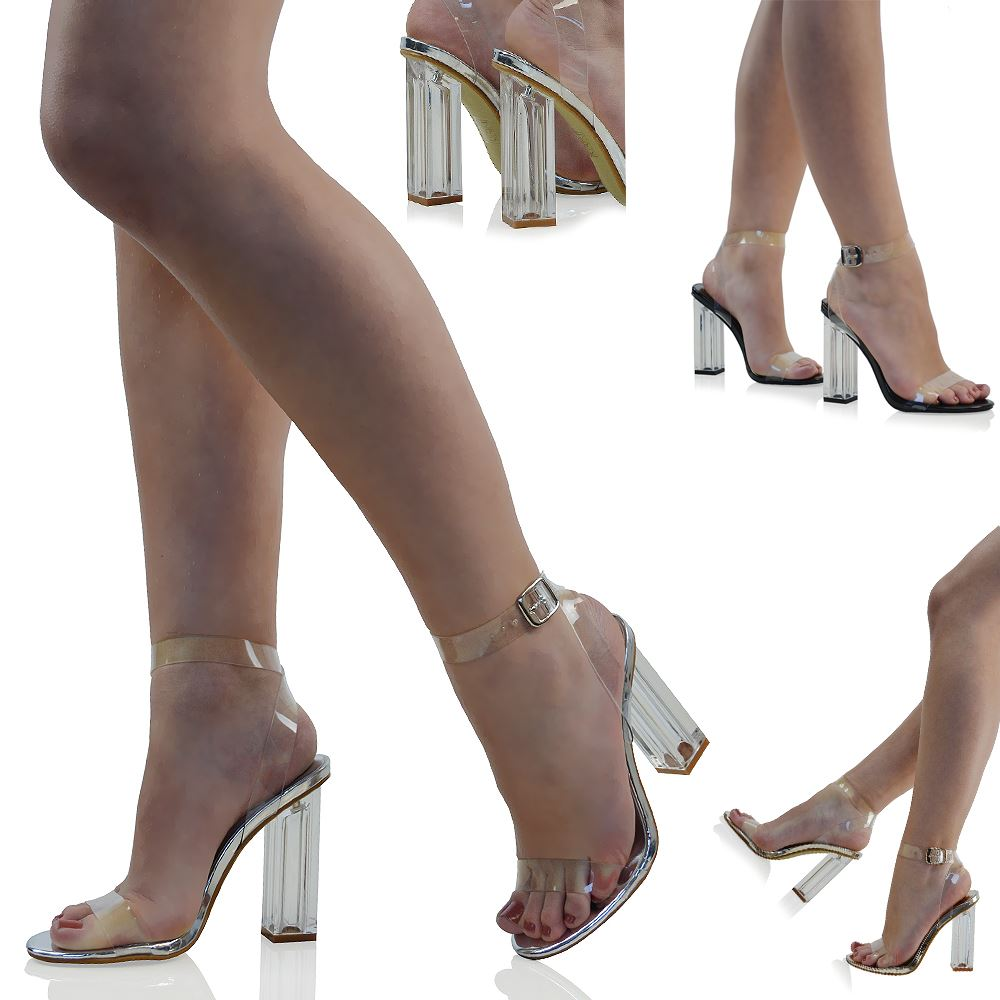 bc1e0a68ee Details about NEW WOMENS CLEAR HEEL AND STRAPPY PEEP TOE SANDALS LADIES  PARTY PERSPEX SHOES