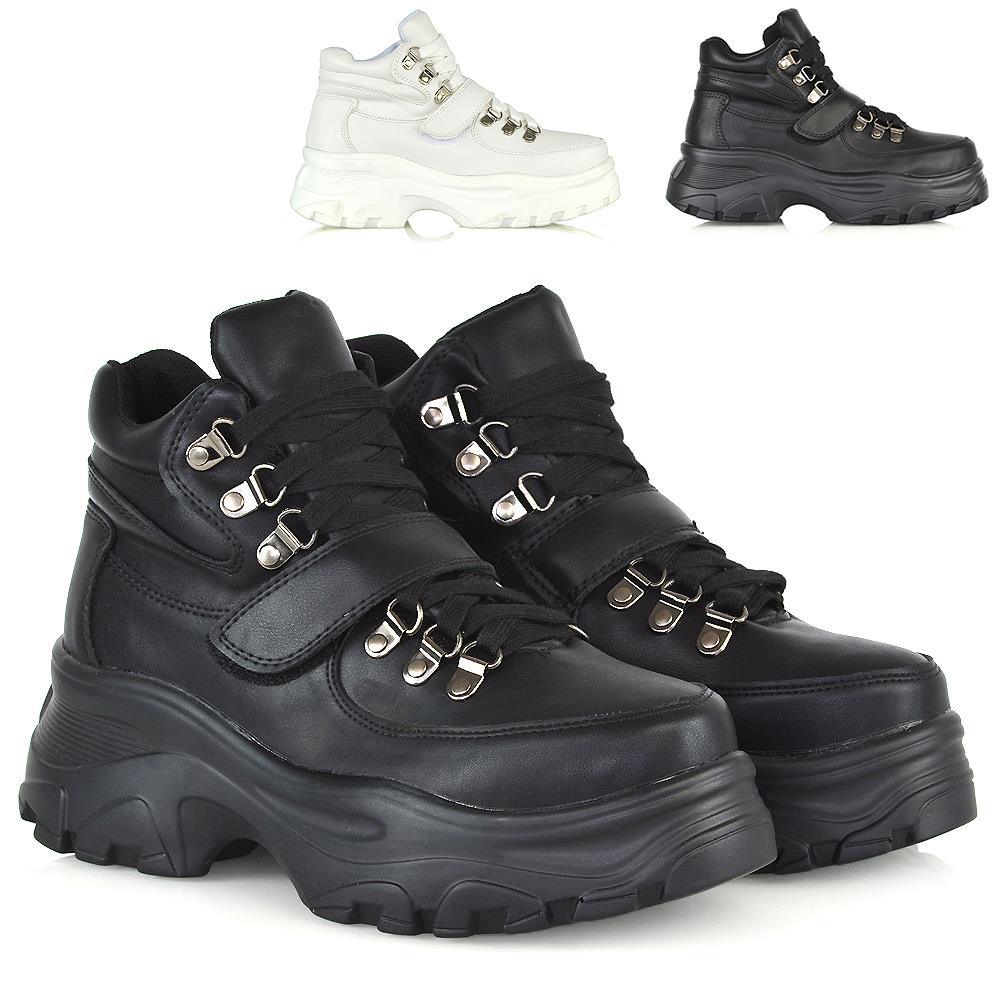 Womens Lace Up High Top Trainers Ladies