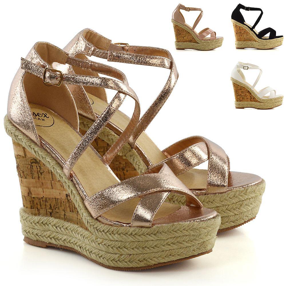 Details about Womens Ladies Ankle Strap Espadrilles Platform Wedge Heel Open Toe Sandals Shoes