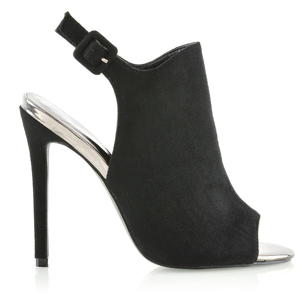 Womens Stiletto Heel Peep Toe Sandals Ladies Open Back Strap