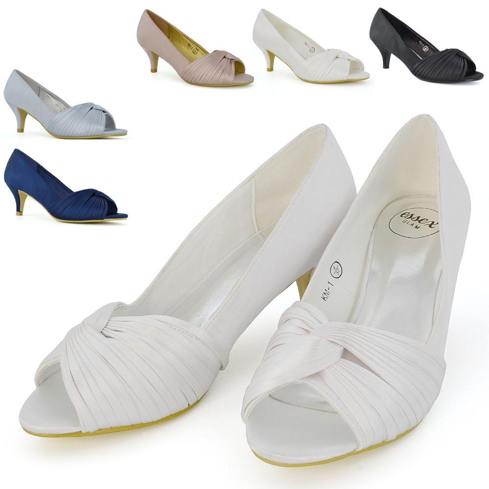 mujer Zapatos De Novia Tacón Bajo Noche Mujer Fiesta De Promoción Satén Fruncido
