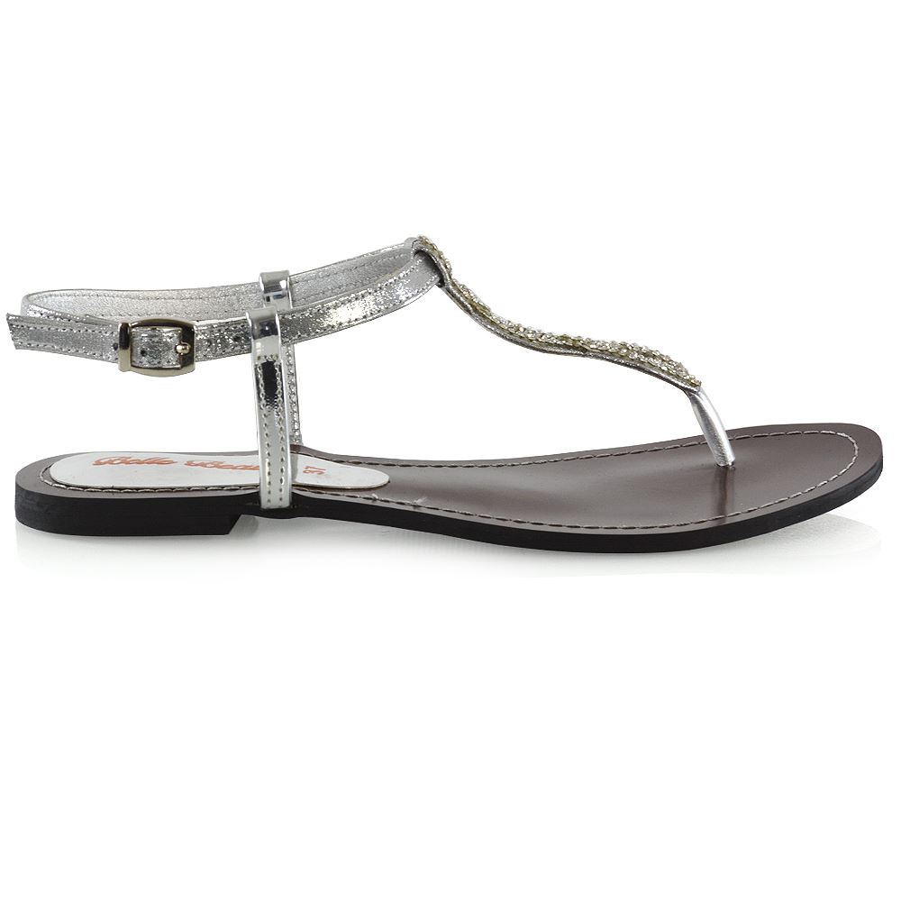 8b7e35753 Womens Diamante Flat T-Bar Singback Sandals Ladies Strappy Holiday Shoes  Size