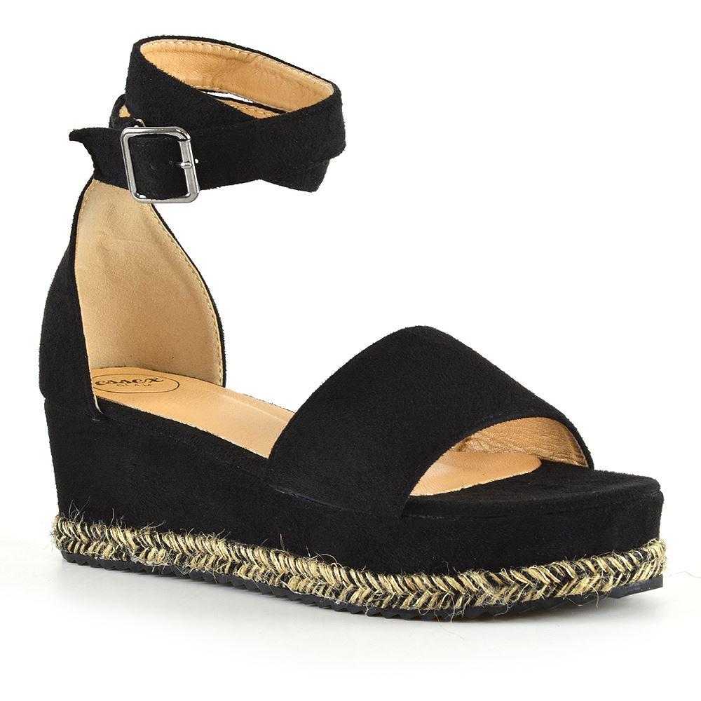 Details about New Womens Flat Wedge Sandals Espadrille Ladies Ankle Strap Platform Shoes
