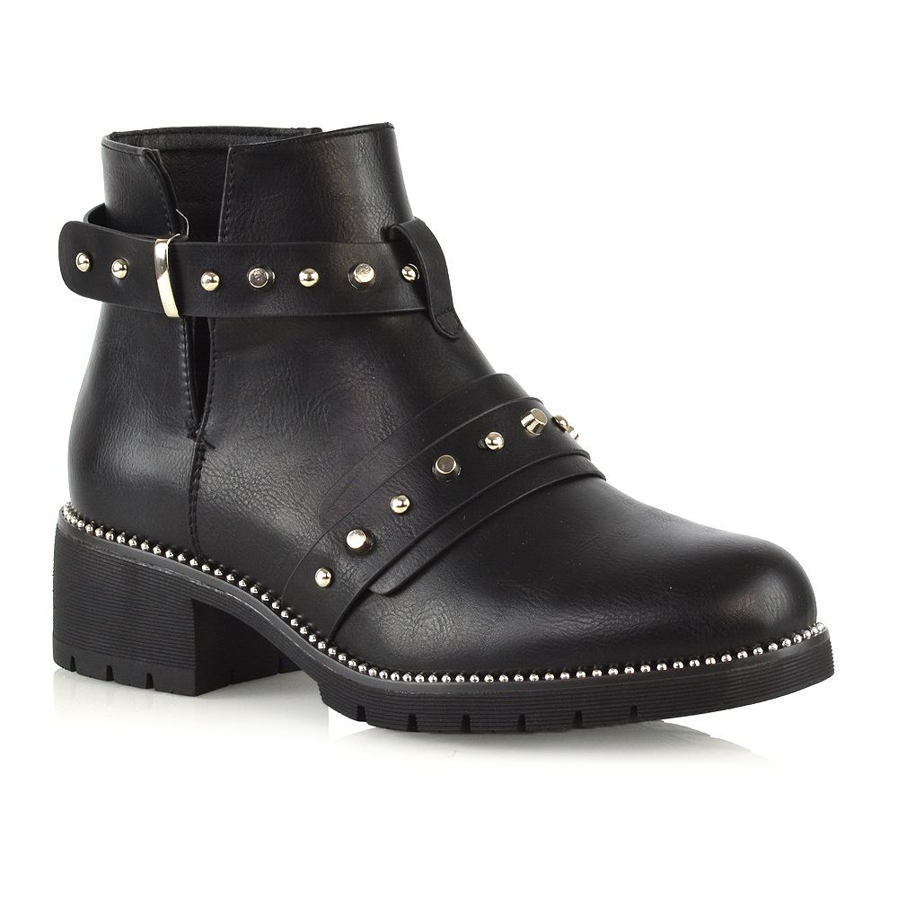 562e84676ab Ladies Womens Goth Studded Zip Up Cut Out Biker Chelsea Punk Chunky Ankle  Boots