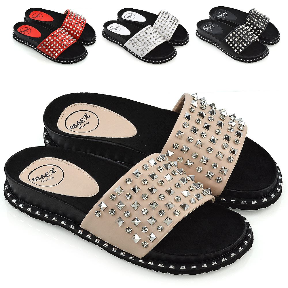 LADIES BEACH SUMMER SANDALS WOMENS SLIP ON MULE SLIDER HOLIDAY STUDDED SHOES SZ