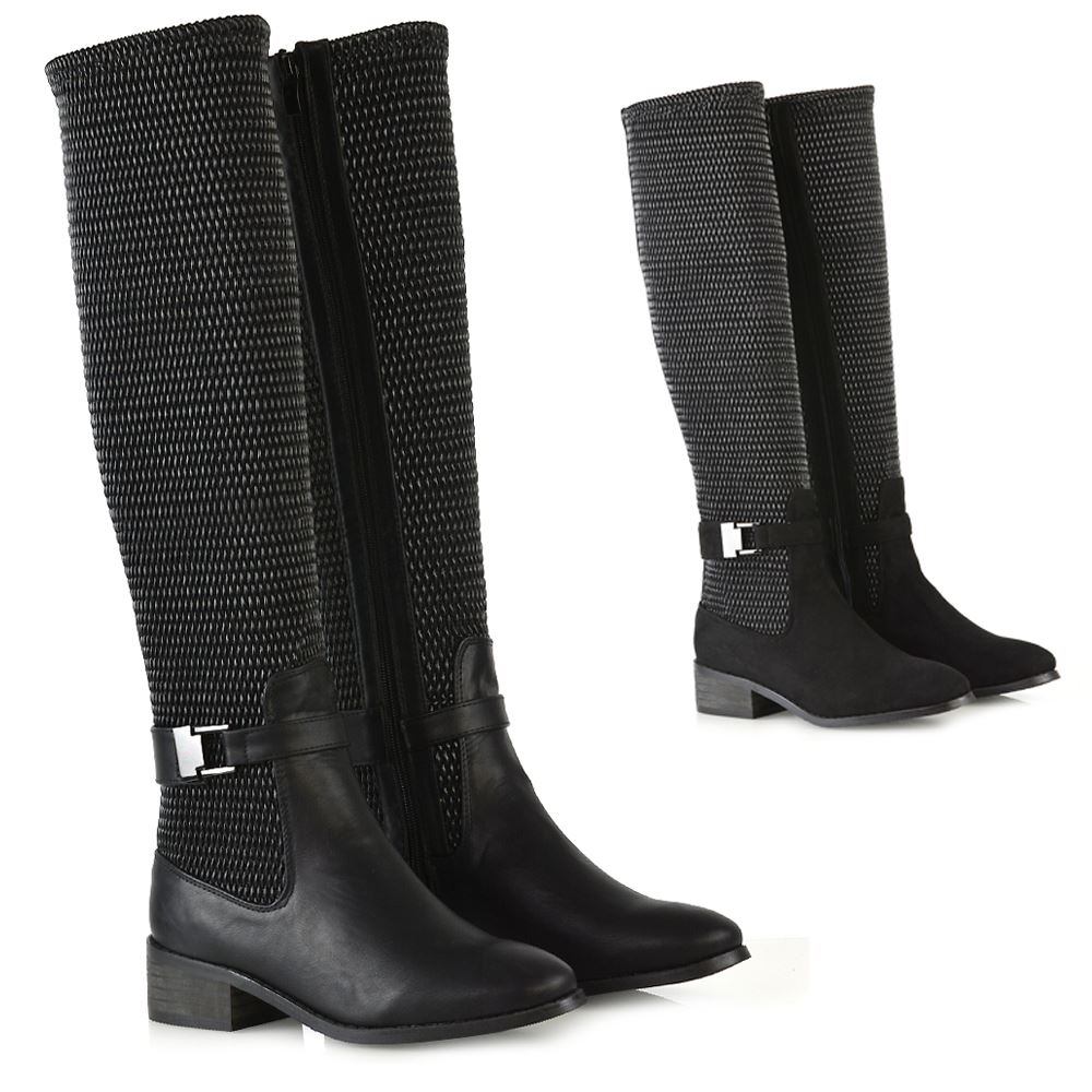 Womens Flat Low Heel Stretch Knee High Boots Ladies Grip Sole Winter Shoes Size Ebay