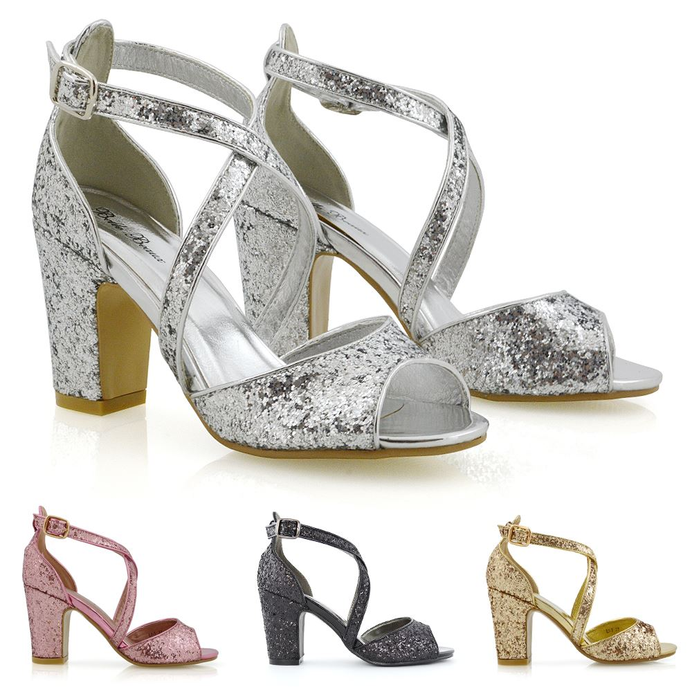 Details about Womens Strappy Sandals Mid Low Heel Sparkly Ladies Bridal Party Shoes Size 3 8