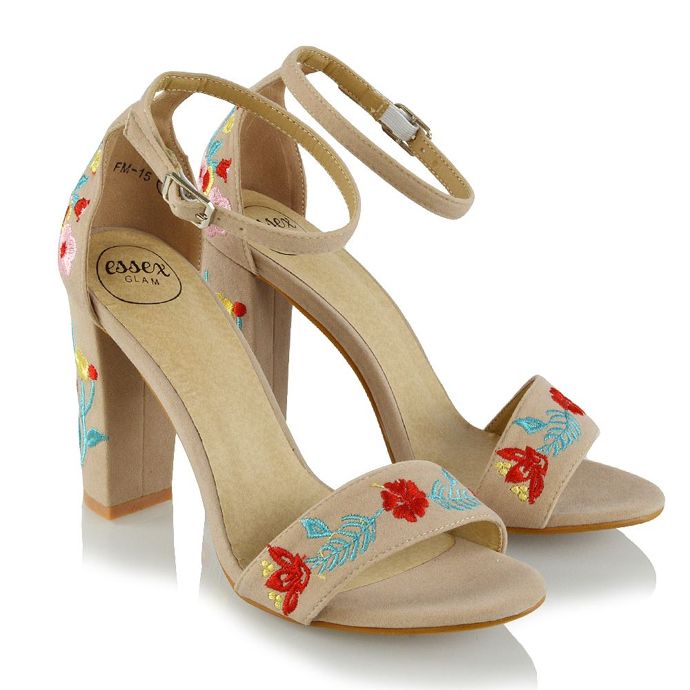 Details about Womens Ankle Strap Floral Embroidered Sandals Block Heel Ladies Party Shoes Size