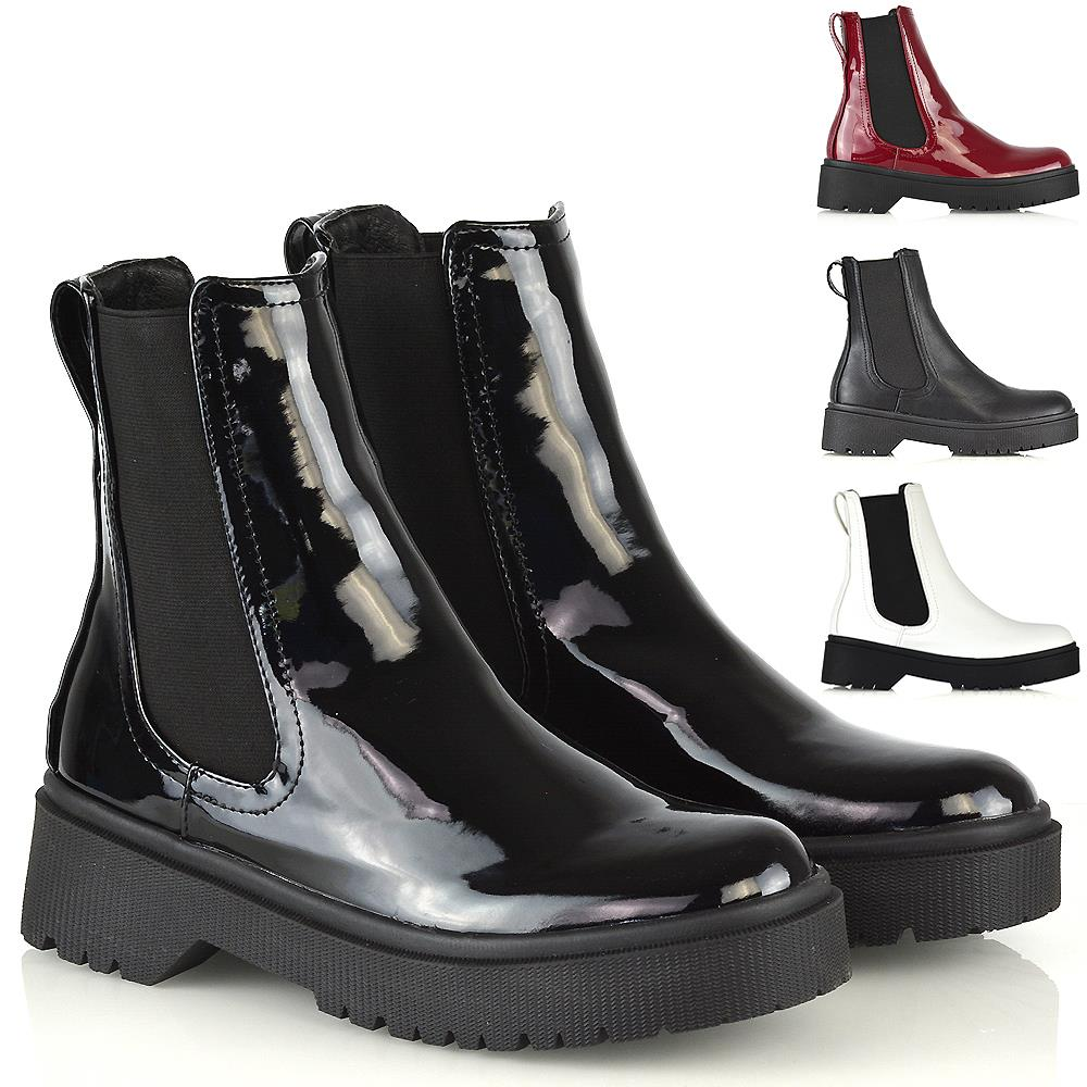 Womens Chelsea Ankle Boots Ladies Pull On Chunky Platform Punk Booties Shoes UK