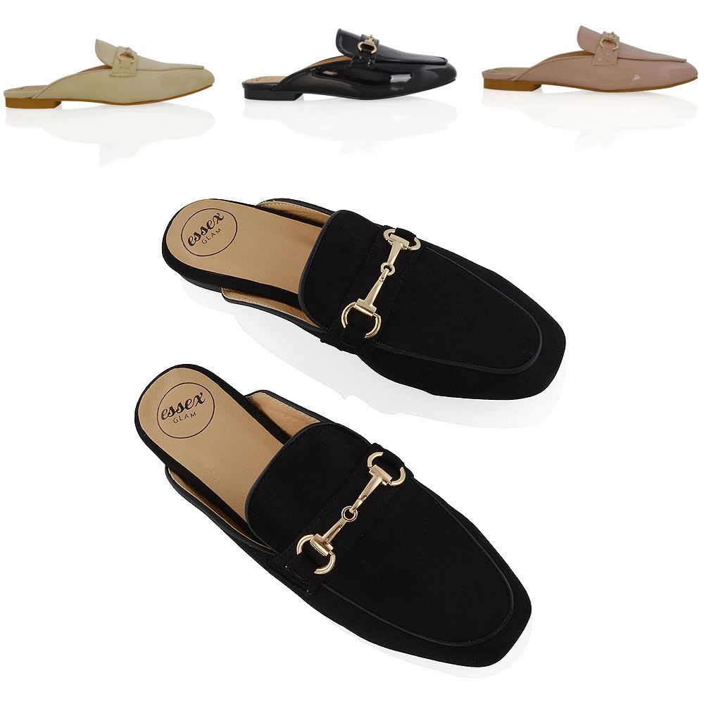 4553dd7c2c27b WOMENS FLAT OPEN BACKLESS LOAFERS LADIES BUCKLE SMART SLIDER SLIP ON SHOES  3-8