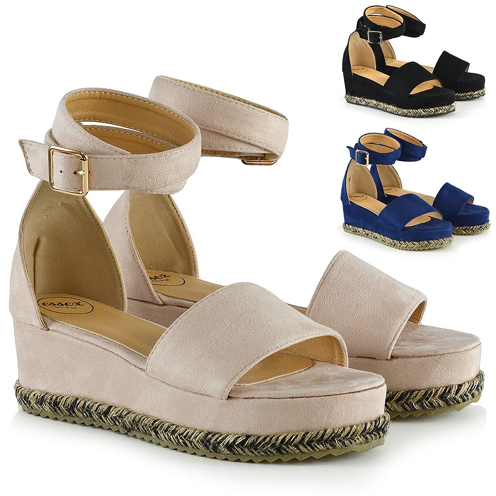 Details about New Womens Flat Wedge Sandals Espadrille Ladies Ankle Strap Platform Shoes