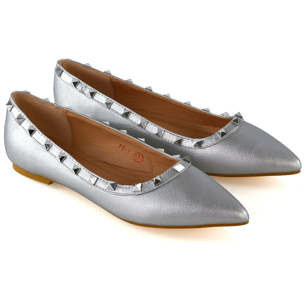 21f9cc1d29e3 New Womens Pointed Ballet Flats Ladies Studded Slip On Pumps Shoes Size 3-9