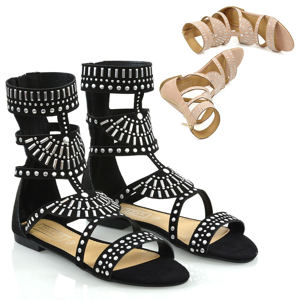 WOMENS FLAT ZIP UP STRAPPY GLADIATOR SUMMER SANDALS OPEN TOE BEACH SHOES 3-8
