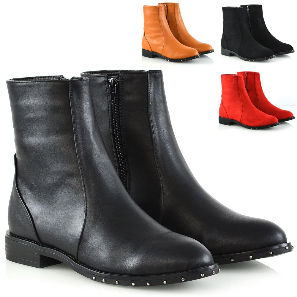 Womens Ankle Boots Stud Sole Trim Flat Zip Ladies Chelsea Casual Riding Booties
