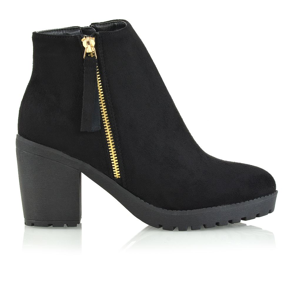 New Womens Ladies Chelsea Chunky Block Heel Grip Sole Winter Ankle Boots Shoes