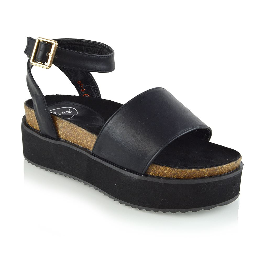 Details about Womens Platform Strappy Sandals Chunky Wedges Flatform Peep Toe Casual Shoes 3 8
