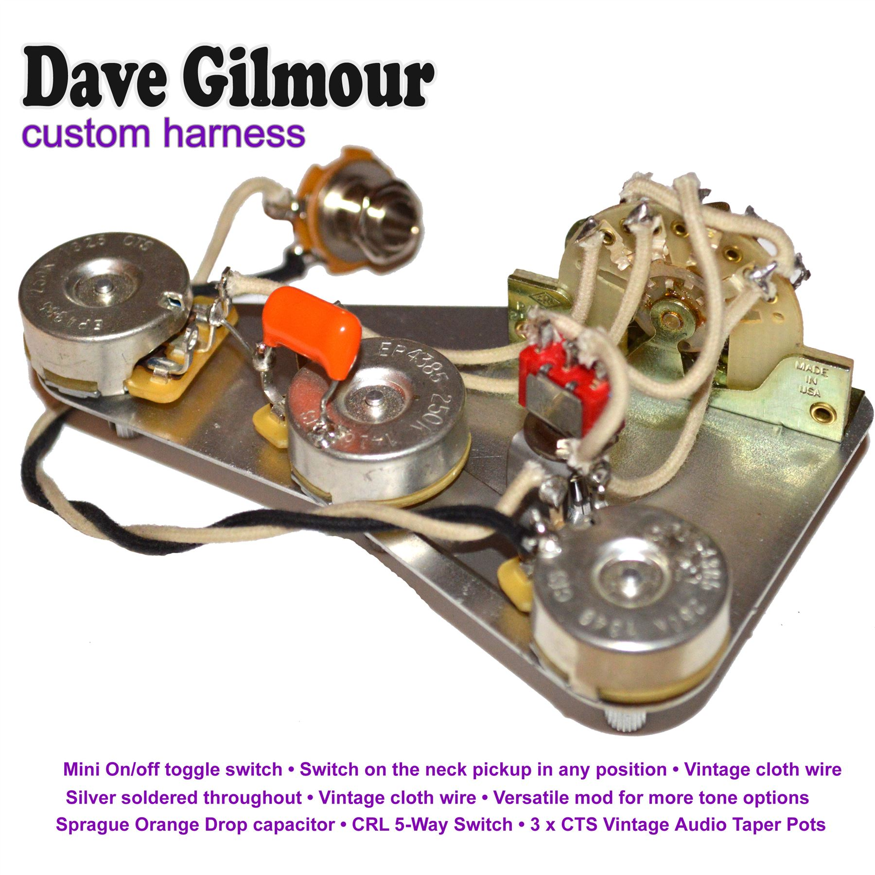 dave gilmour deluxe pre-wired stratocaster wiring kit with recessed mini toggle | ebay david gilmour black strat wiring diagram