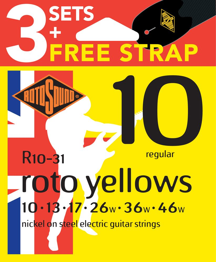 rotosound r10 nickel plated electric guitar strings x3 sets free strap 10 46 686194006310 ebay. Black Bedroom Furniture Sets. Home Design Ideas