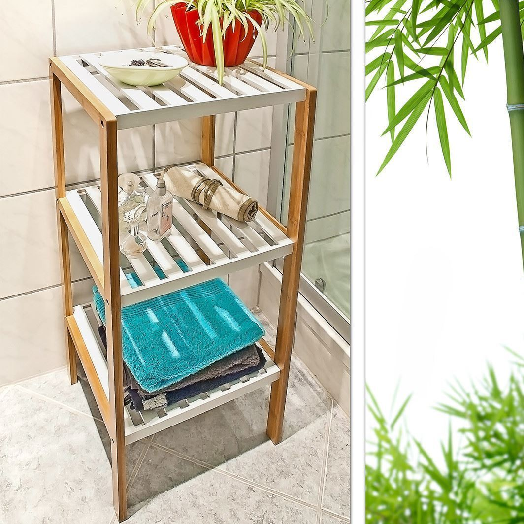 3 4 tier wooden bamboo home bathroom storage unit rack for Wooden bathroom shelving unit