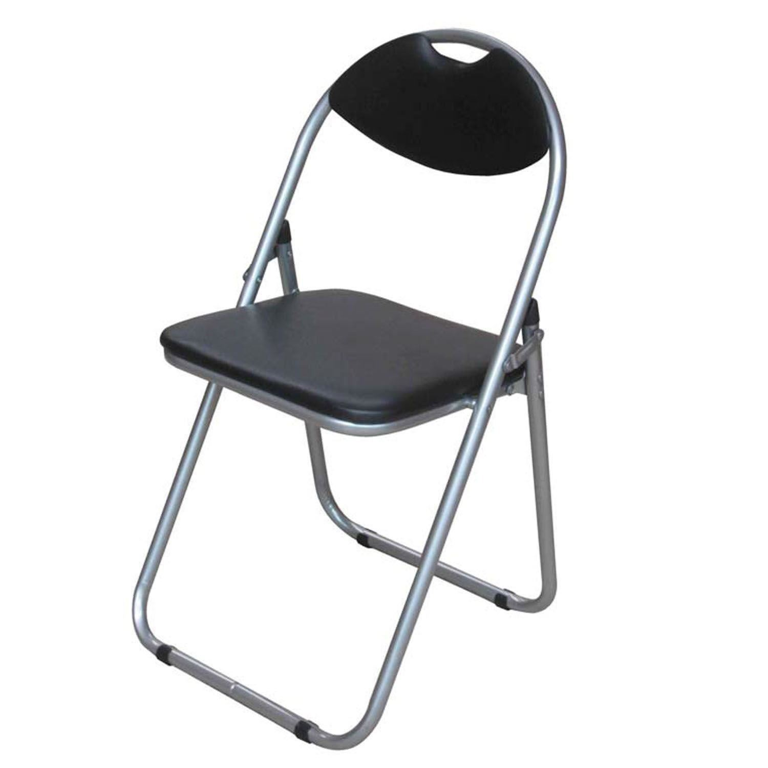BLACK FAUX LEATHER PADDED FOLDING CHAIR SEAT & BACK REST HOME