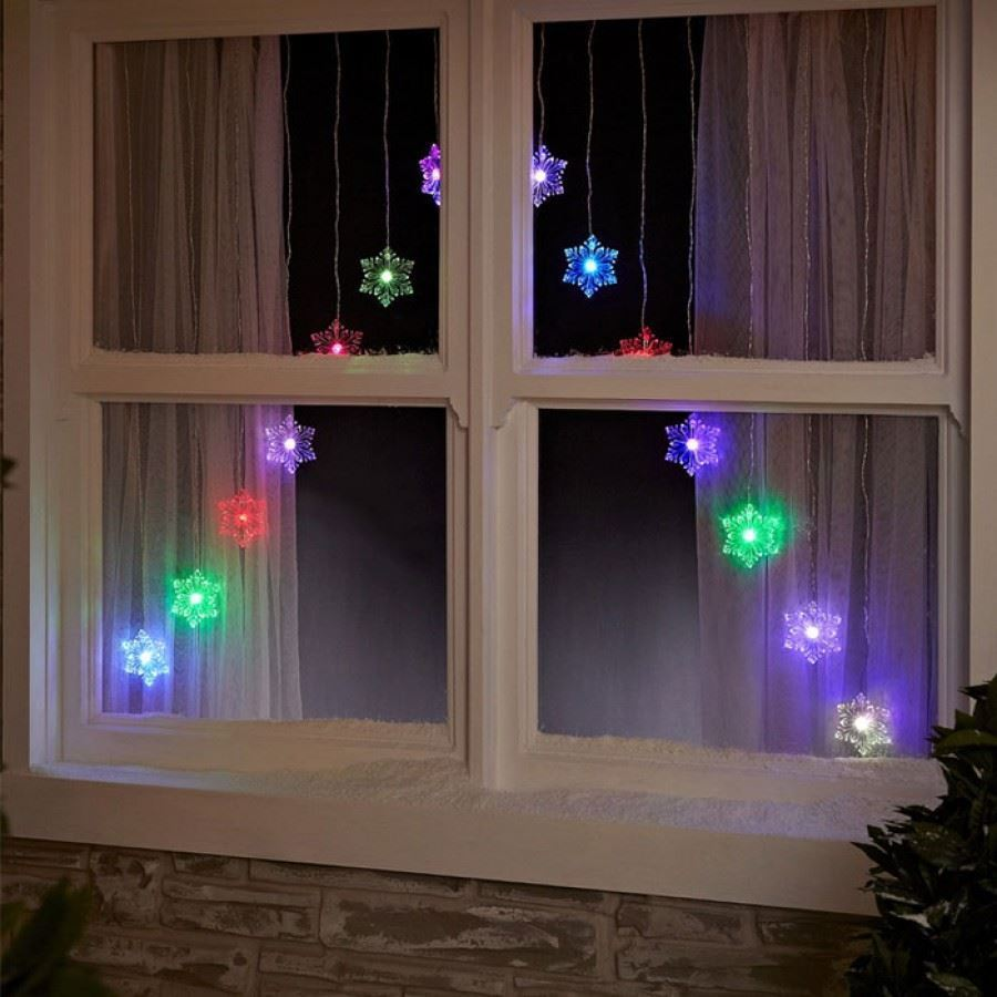 christmas window lights 15 led colour changing snowflake v window 11685
