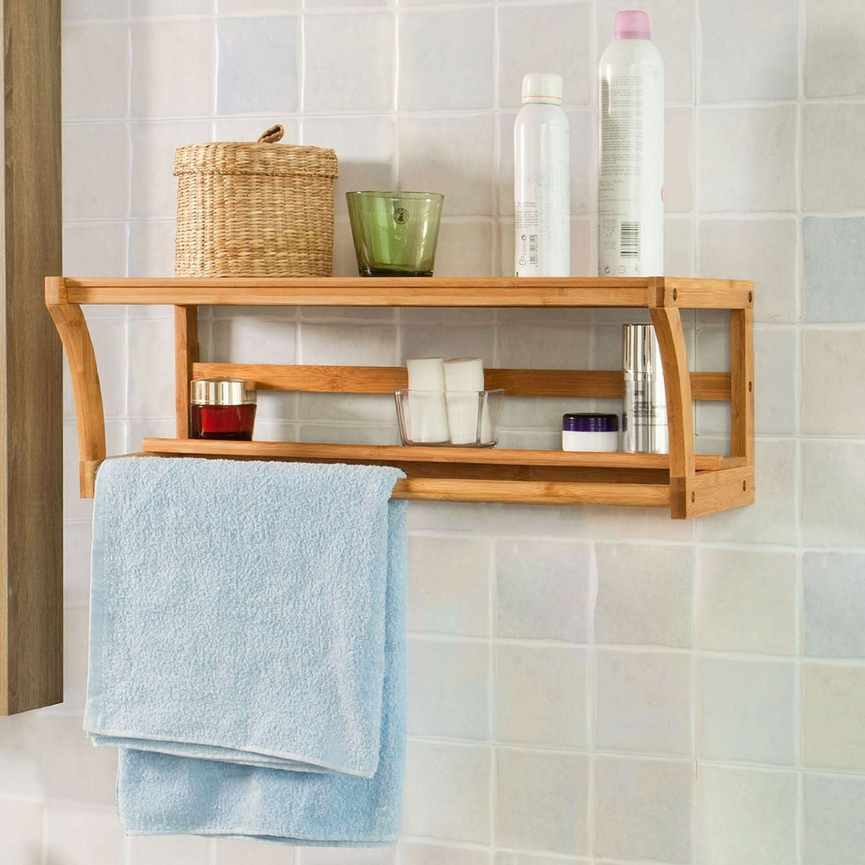 Bathroom wall mounted bamboo wood shelf rack towel rail holder shelf