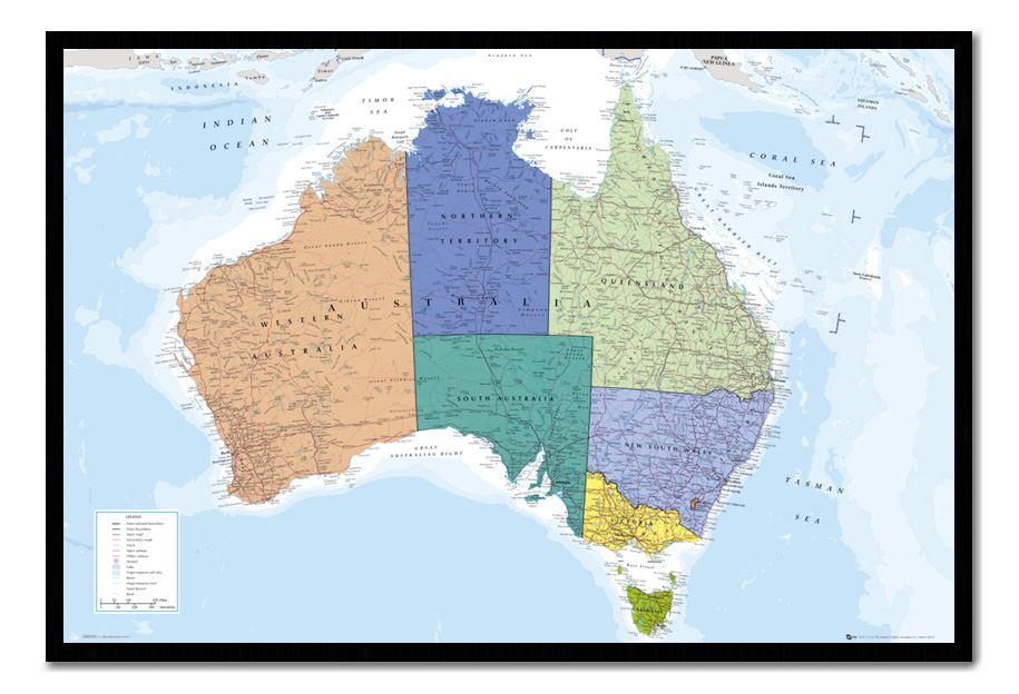 Australia map pinboard cork board with pins choice of frame a laminated map of australia tasmania which includes state boundaries main secondary roads tracks railways airports lakes rivers salt lakes and gumiabroncs Choice Image