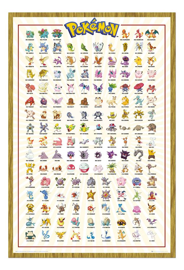 Framed Pokemon Go Kanto Catch Them All 151 Poster New Ebay