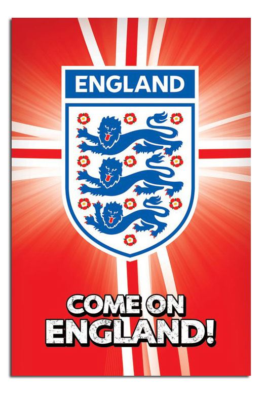 Official-Come-On-England-Poster-Football-World-Cup-New-3-Lions-24-x-36-Inches