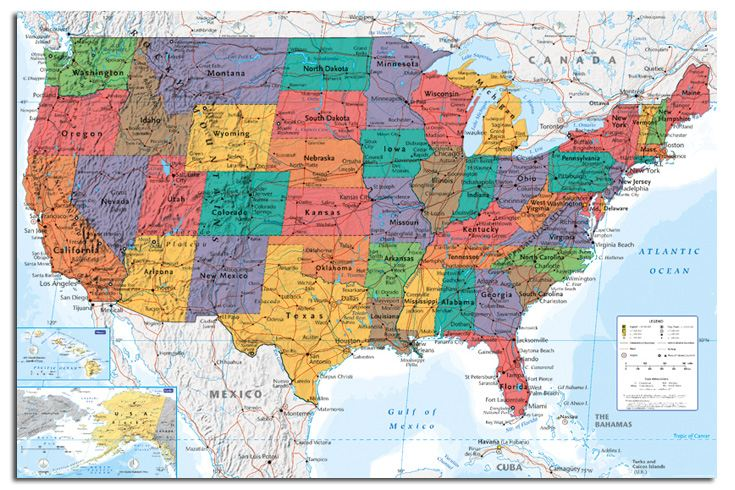 Large Map Of United States.Usa United States Large Map Wall Chart Poster New Laminated