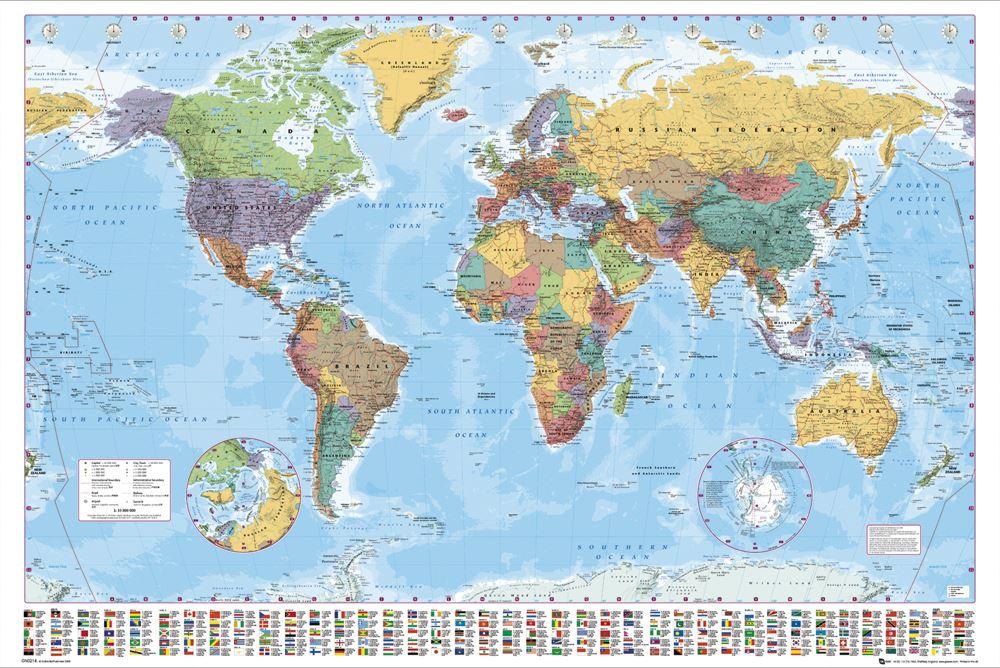 Grosse-Weltkarte-Poster-Schautafel-mit-Landes-Fahnen-NEU-aktuelle-Version